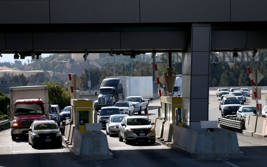 Traffic passes through the Benicia-Martinez Bridge Toll Plaza